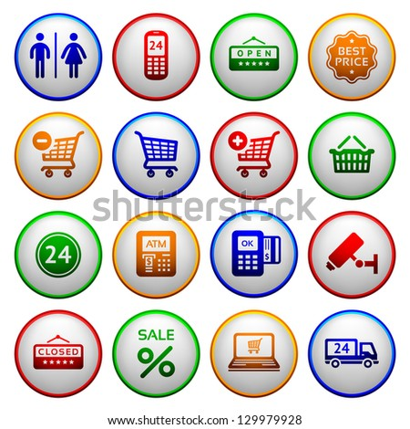 Set ymbols supermarket services, Shopping Icons. Colorful round buttons. Vector copy also available - stock photo