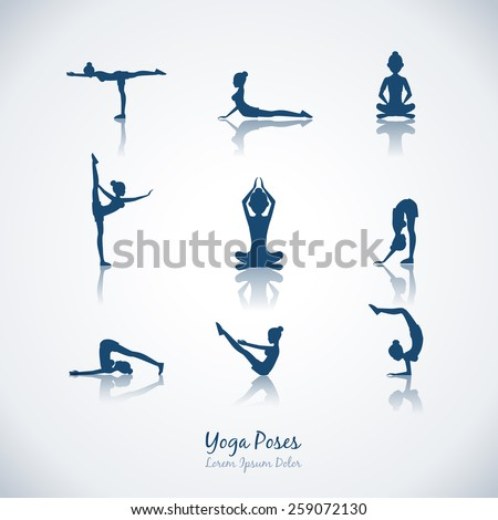 Set yoga poses. Healthy lifestyle and silhouette, woman and meditation and breathing - stock photo