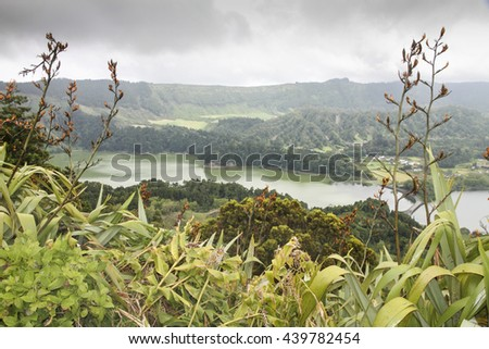 Sete Cidades Lagoon has Amazing natural landscape and is located in a volcanic crater on the island of Sao Miguel, Azores Portugal - stock photo