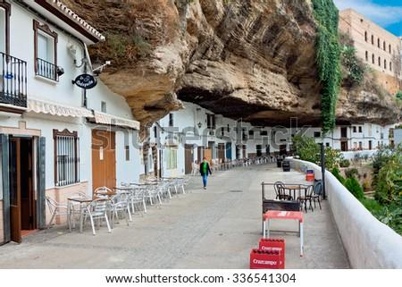SETENIL DE LAS BODEGAS, SPAIN - NOVEMBER 22: View of historic center on September 07, 2014 in Setenil de las Bodegas, Cadiz, Spain, November 22, 2014. A popular placeamong tourists. - stock photo