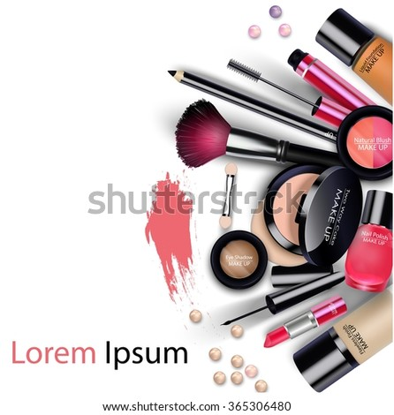 Sets of cosmetics on isolated background - stock photo