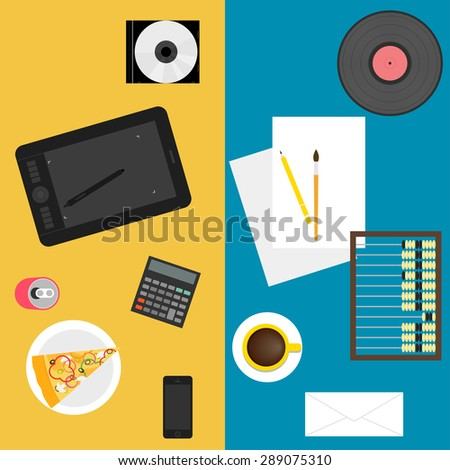 Sets of new and old things used in everyday life of people isolated on blue and yellow background. Simple graphic illustration in trendy flat style for use in design card, poster cover. Raster copy - stock photo