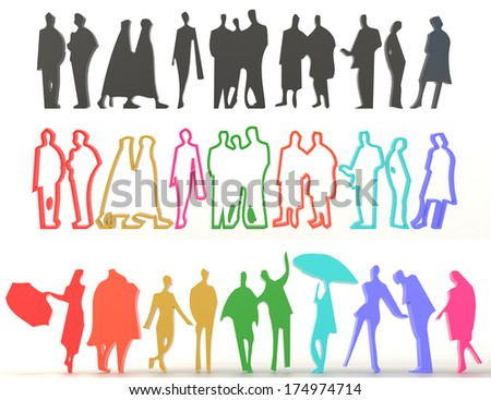 Sets of rough silhouette and colorful people in various characteristic, create by 3D - stock photo