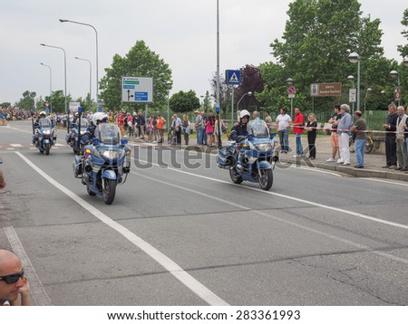SETTIMO TORINESE, ITALY - MAY 31, 2015: People waiting for riders at the last stage of Giro di Italia meaning Tour of Italy stage bycicle race