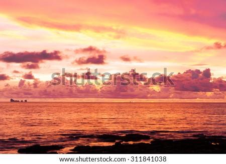 Setting Sun Bay View  - stock photo
