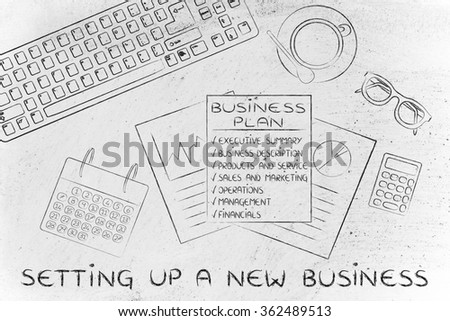 setting up a new business: illustration of an office desk with detailed documents
