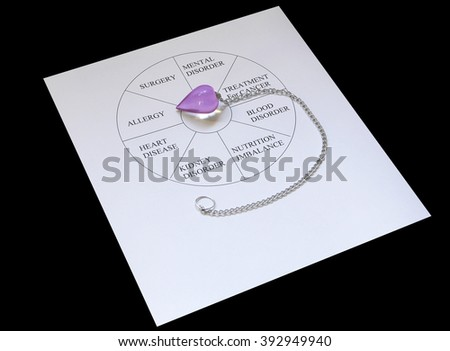 Setting dowsing session dowsing chart amethyst stock photo royalty setting up for a dowsing session dowsing chart with amethyst dowsing pendulum white sheet aloadofball Choice Image
