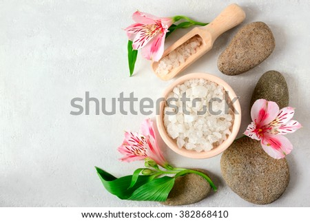 Setting with aromatic salt, spa concept
