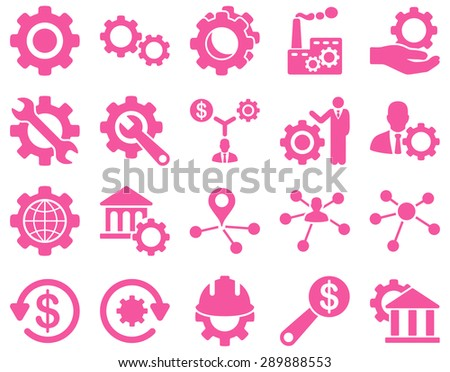 Settings and Tools Icons. Glyph set style: flat images, pink color, isolated on a white background.