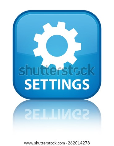 Settings cyan blue square button - stock photo