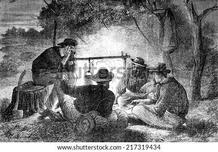 Settlers Queensland. A card game, vintage engraved illustration. Journal des Voyages, Travel Journal, (1879-80).