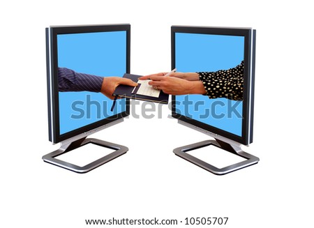 Settling your debts on the internet a couple. - stock photo