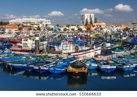 SETUBAL, PORTUGAL - November 1: general view of Doca Dos Pescadores with of colorful fishermen's boats in Setubal, Portugal on November 1, 2016.