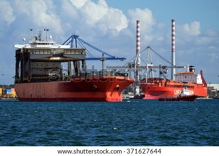 Setubal, Portugal, 4th October 2013, Ships in port and underway to sea. - stock photo
