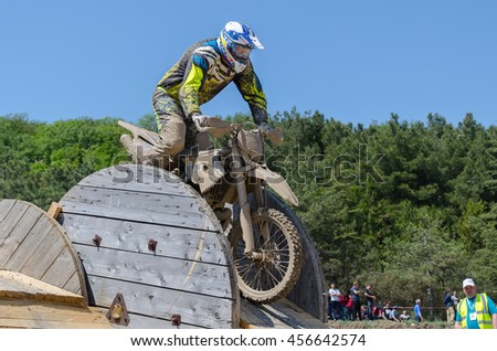 Sevastopol, Crimea - May 8: Motocross on Sapun-Hill on May 8, 2016  in Sevastopol, Crimea.