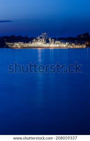 SEVASTOPOL RUSSIA - JULY 27: Battleships at night before Day of the Navy on july 27, 2014 in Sevastopol, Crimea, Russia.