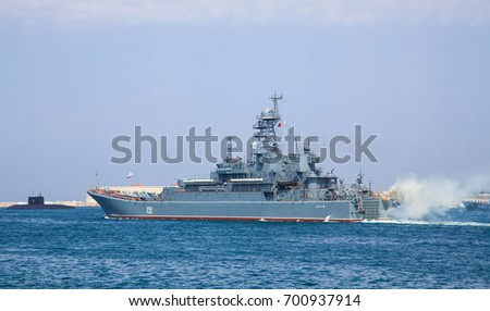 Sevastopol, Russia - July 27, 2017: Ships of the Black Sea Fleet of Russia at the rehearsal of the Navy Day parade