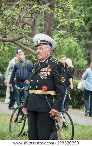 SEVASTOPOL, RUSSIA - MAY 09: Celebrating the 69th anniversary of the Victory Day and 70th anniversary of Sevastopol liberation from fascists. Sevastopol 2014. Parade, veterans.  - stock photo