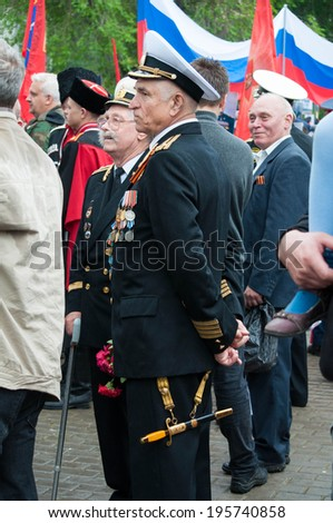 SEVASTOPOL, RUSSIA - MAY 07: Celebrating the 69th anniversary of the Victory Day (WWII).Sevastopol 2014. Parade, veterans.