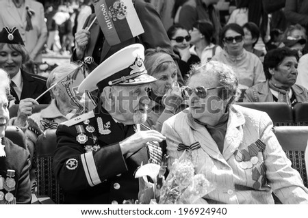 SEVASTOPOL, RUSSIA - MAY 09: Celebrating the 69th anniversary of the Victory Day (WWII).Sevastopol 2014. Parade, veterans.  - stock photo
