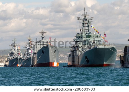 Sevastopol, Russia - May 9, 2015: Marine Parade warships Russian Black Sea Fleet. Day of the Victory of the Great Patriotic War. 70 years of the Great Victory over fascism. Russian navy