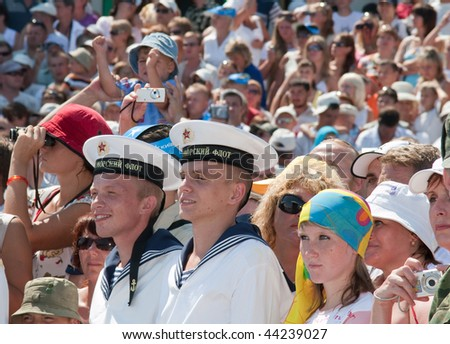 SEVASTOPOL, UKRAINE - JULY 29: Russian navy men and citizens of Sevastopol observe a naval review on Russian Navy Day on July 29, 2007 in Sevastopol, Ukraine.