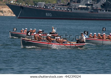 SEVASTOPOL, UKRAINE - JULY 29: Russian navy men participate in naval review dedicated to Russian Navy Day on July 29, 2007 in Sevastopol, Ukraine.
