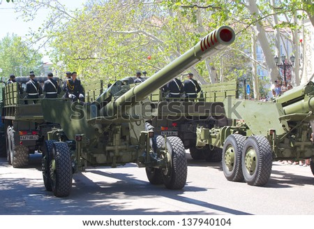 SEVASTOPOL, UKRAINE - MAY 9: Victory Day. The parade of veterans in honor of 68 anniversary of the victory on May 9, 2013 in Sevastopol, Ukraine.