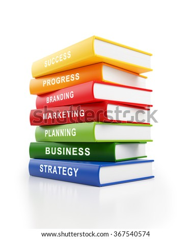 Seven books stacked haphazardly on top of each other in front of a white background. The books have yellow, red, blue and green covers with white text along the spines. - stock photo
