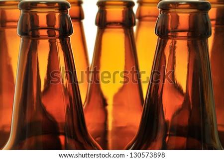 seven bottlenecks on white background - stock photo
