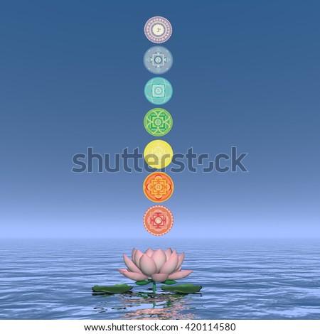 Seven chakra symbols column - 3D render - stock photo