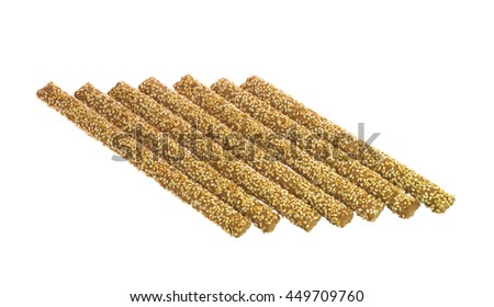 Seven Crunchy Bread Sticks With Sesame Isolated on White