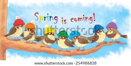 Seven cute birds sitting in a tree, wearing hats of rainbow colors, ready for spring. Illustration for children. Poster - stock photo