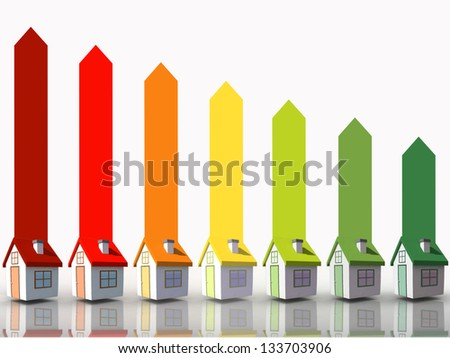 Seven 3d houses representing energy efficiency on white background