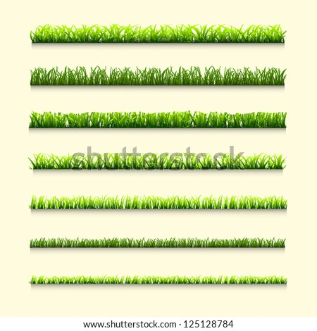 Seven different types of green grass for design.Raster version