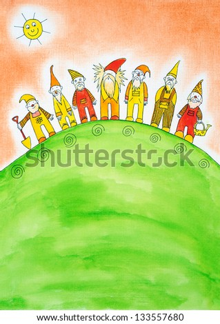 Seven dwarfs, child's drawing, watercolor painting on paper - stock photo