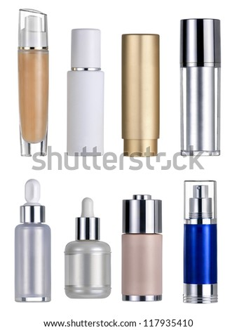 Seven flasks cosmetics. Clipping path - stock photo