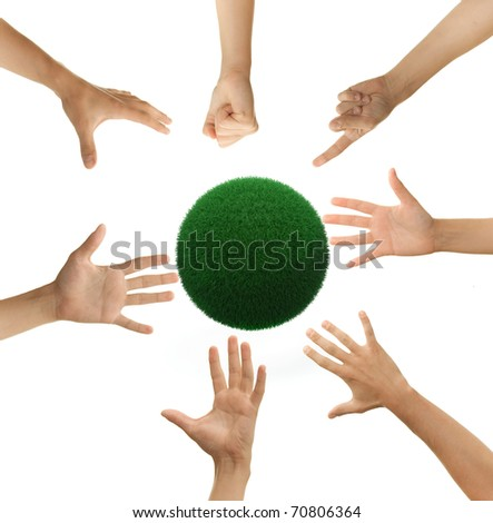 seven hands forming a complete circle, reaching for a - stock photo