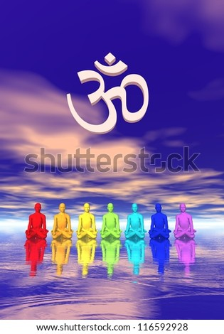 Seven human with chakra colors meditating below an ohm in blue and pink background - stock photo