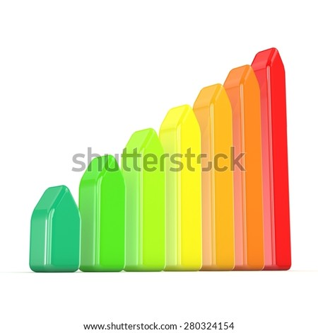 Seven levels of energetic efficiency. 3D render illustration isolated on white background - stock photo