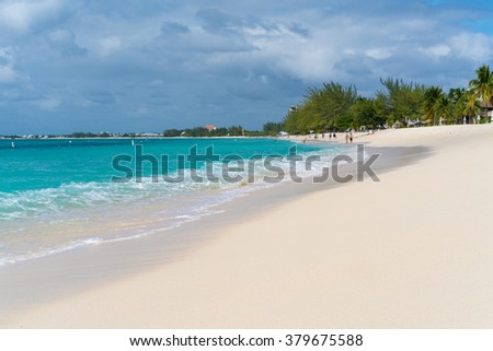Seven Mile Beach at West End in Grand Cayman - stock photo