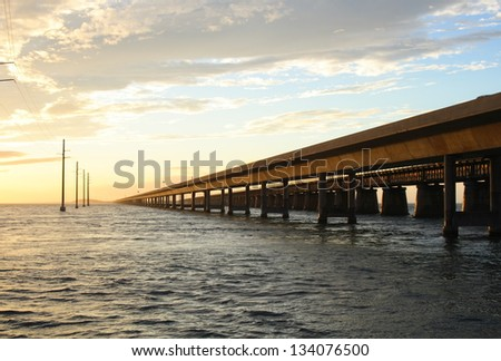 Seven mile bridge landmark of the Florida Keys - stock photo