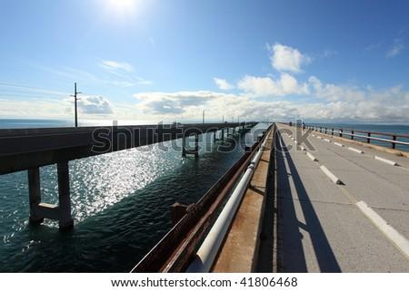 Seven miles bridge in Florida keys, - stock photo
