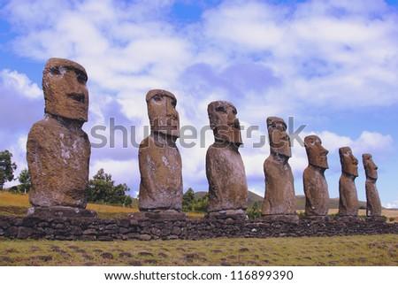 Seven moai platform, Eastern Island, Chile - stock photo