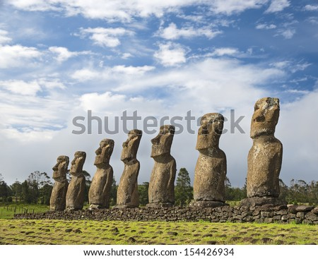 Seven moais of Easter Island, Symbol of Polynesian culture at the Ahu Akivi sacred site - stock photo