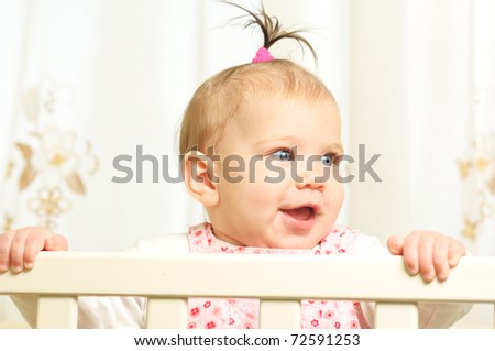 Seven months old happiness girl - stock photo
