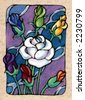Seven of Roses, from my Tarot of the Roses - stock photo