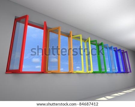 Seven opened windows with rainbow colors, view to sky - stock photo