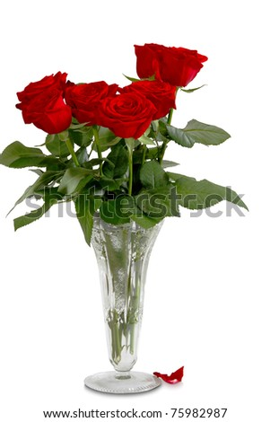 Seven red roses in glass vase