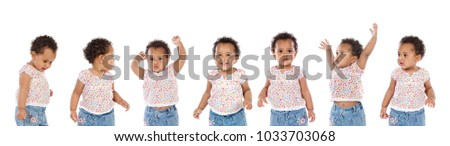 Seven same african sisters with different expressions isolated on a white background